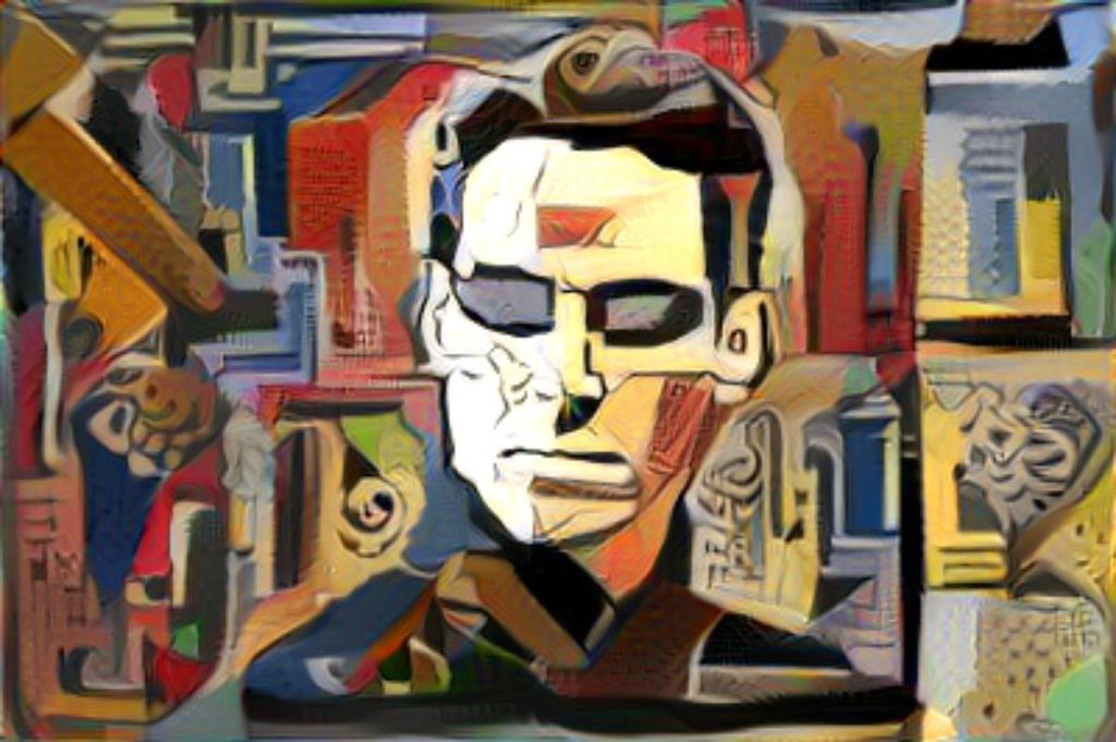 Neo from The Matrix, turned into a Picasso like art style