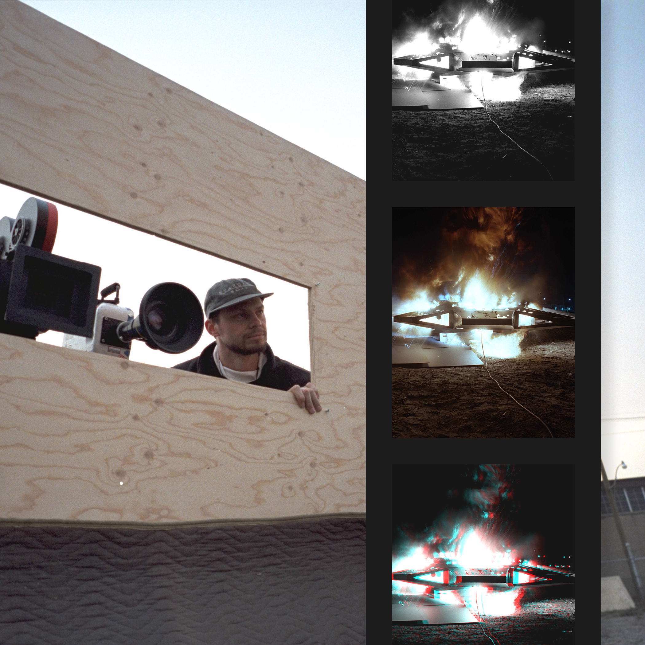 A feature image template showing VFX supervisor John Gajdecki peering through the wooden wall that protects the camera