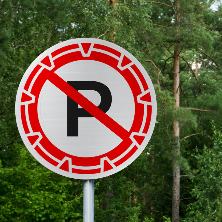 A sci-fi no-parking sign? Yes indeed, The feature image of Brad Wright's exclusive article on the rules of sci-fi